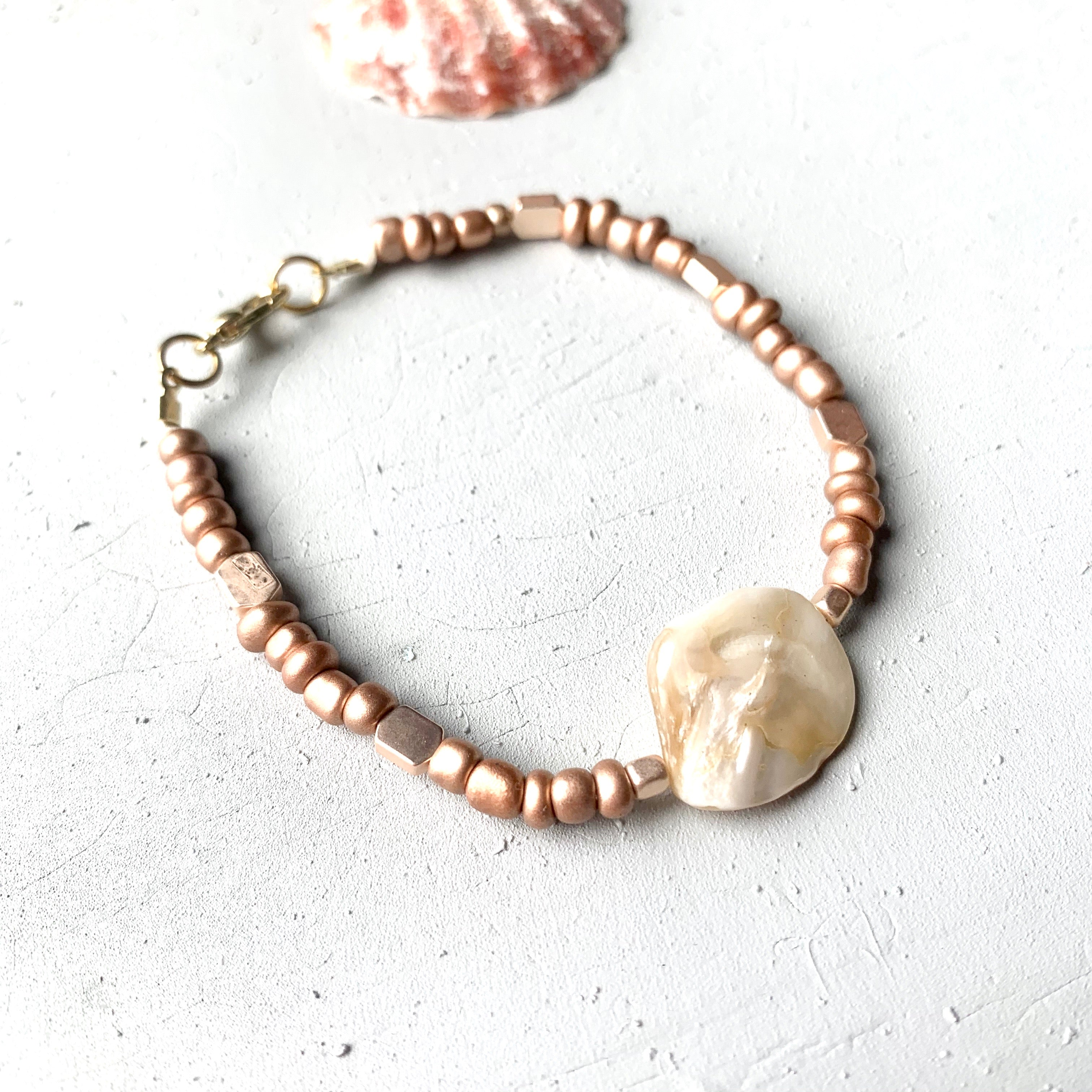rose gold seed bead bracelet with seashells