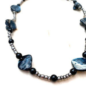 seed bead and seashell choker necklace handmade using fair trade certified and eco friendly materials