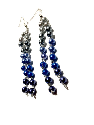 fair trade certified pearl tassel earrings in ombre ivory white to navy blue