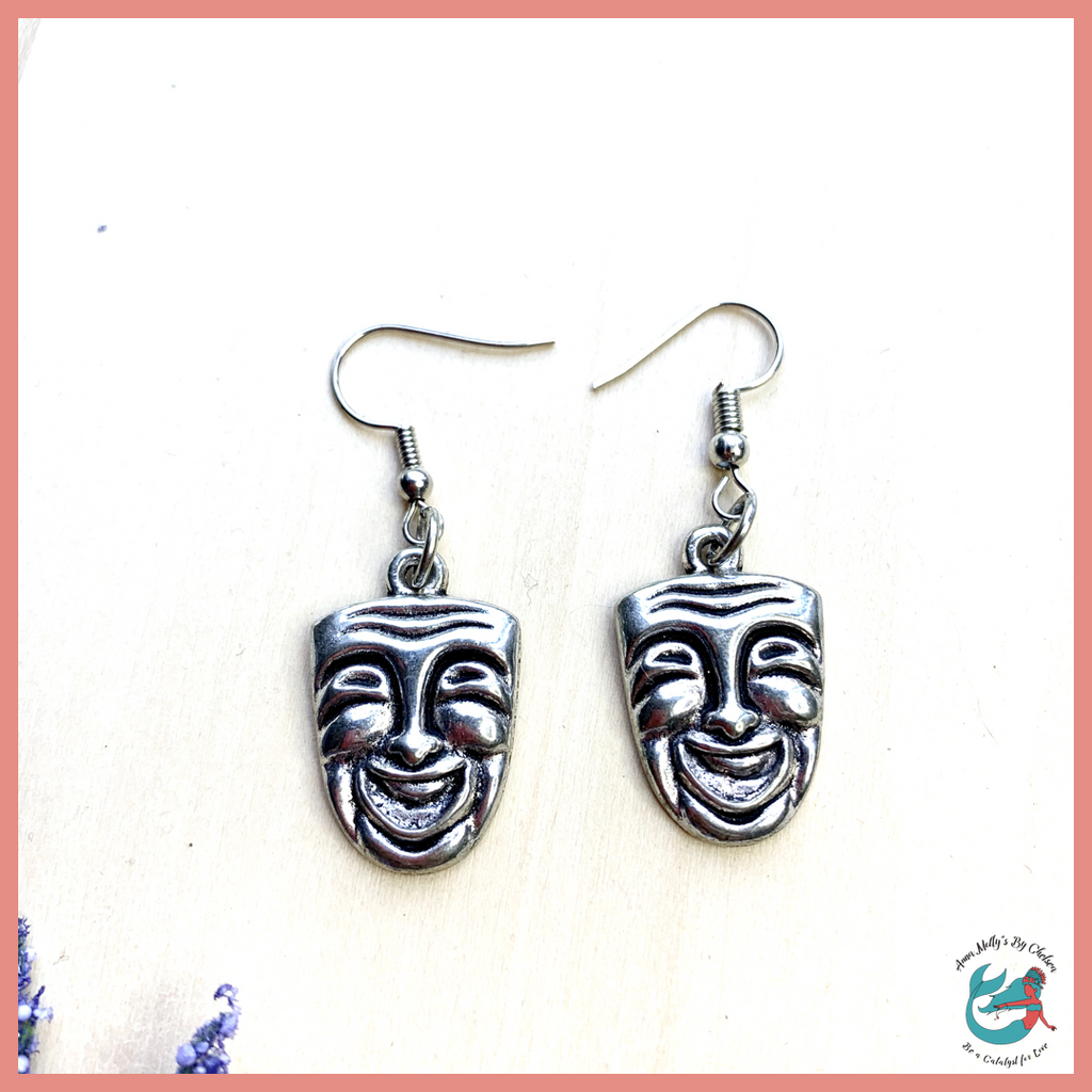 Silver Beach Drama Earrings | Comedy Drama Mask Charm Earrings
