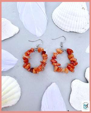 Raw Gemstone Chip Hoop Earrings