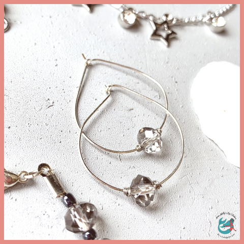 Lost Stars Gray Sparkle Hoops