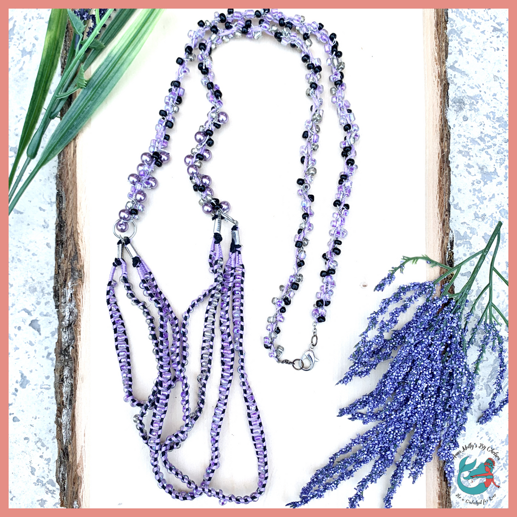 lavender and black braided hemp and pearl necklace, long handmade faux pearl statement necklace