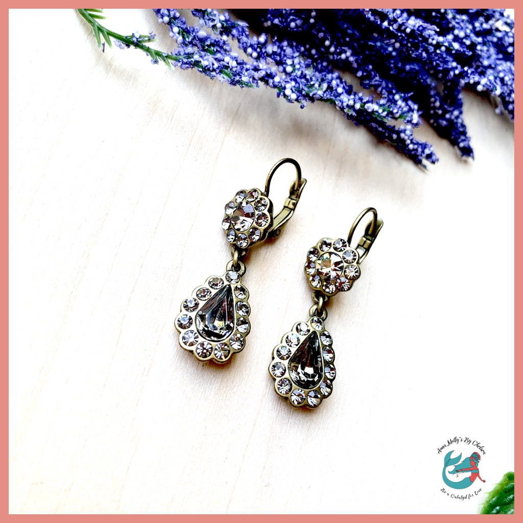 Princess Beach Fancy Grey Earrings | Genuine Fancy Grey + Bronze Crystal Earrings