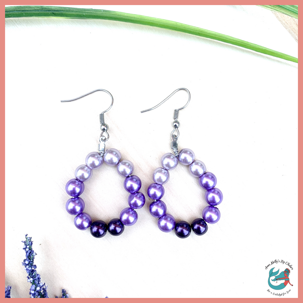 ombre purple pearl hoop earrings