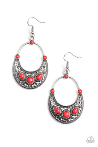 PAPARAZZI EARRINGS-Paleo Paradise - Red