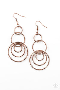 PAPARAZZI EARRINGS- CHIC CIRCLE- COPPER