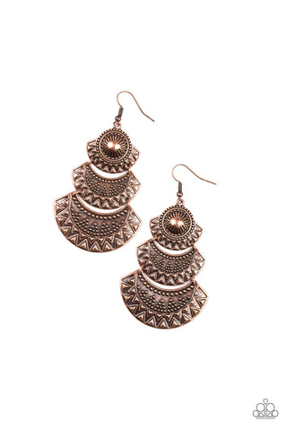 PAPARAZZI EARRINGS-Impressively Empress - Copper