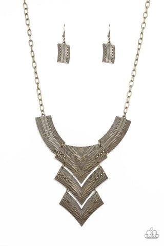 PAPARAZZI NECKLACE- FIERCELY PHARAOH- BRASS