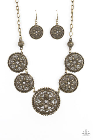 PAPARAZZI NECKLACE-Written In The STAR LILIES - Brass