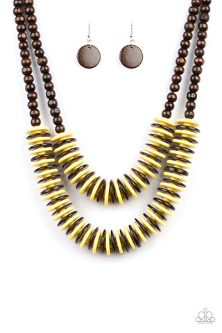 PAPARAZZI NECKLACE- DOMINICAN DISCO- YELLOW