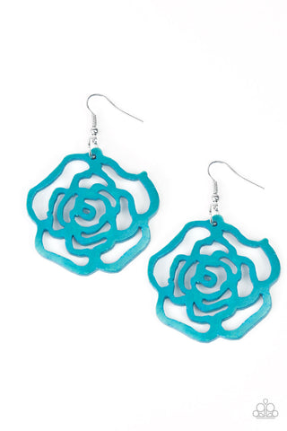 PAPARAZZI EARRINGS-Island Rose - Blue