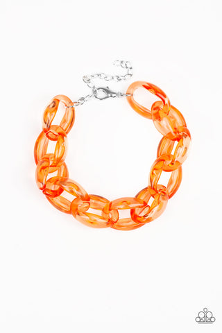 PAPARAZZI BRACELET-Ice Ice Baby - Orange