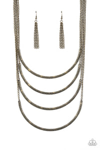 PAPARAZZI NECKLACE-It Will Be Over MOON - Brass