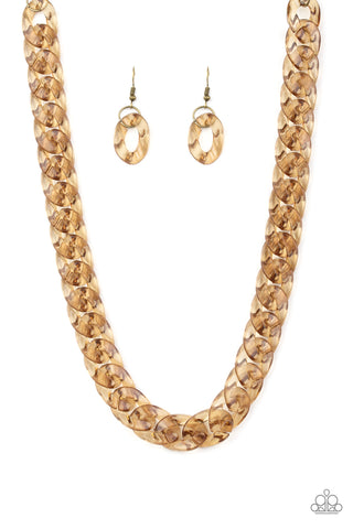 PAPARAZZI NECKLACE- PUT IT ON ICE- BRASS