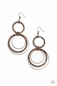 PAPARAZZI EARRINGS-Eclipsed Edge - Copper