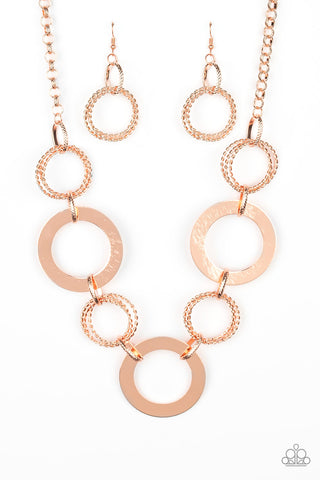 PAPARAZZI NECKLACE-Ringed in Radiance - Copper