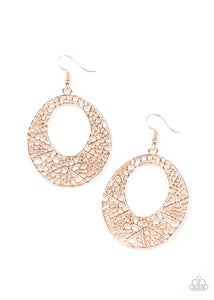 PAPARAZZI EARRINGS-Serenely Shattered - Rose Gold