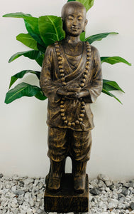STANDING SHAOLIN W/ BOWL SMALL 133X40X30cm (BLK GOLD)