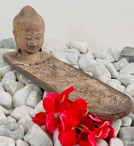 Buddha head incense stick holder
