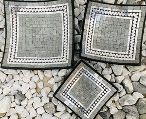 SQUARE PLATE SET OF 3 - SILVER