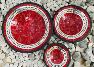 ROUND MOSAIC PLATES SET OF 3- RED JELLY