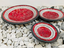 Load image into Gallery viewer, ROUND MOSAIC PLATES SET OF 3- RED JELLY