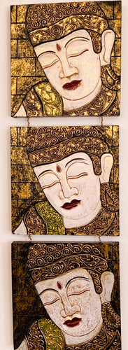 PANEL SET 3 WOODEN BUDDHA FRAMES