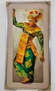 BALINESE BRIDE FRAMED OIL PAINTING 60 X 120