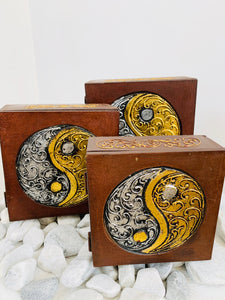 HANDMADE SET OF 3 BOXES- YIN AND YANG 3 SIZES