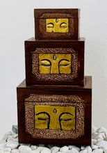 Load image into Gallery viewer, HANDMADE CARVED SET 3 BOXES - GOLD BUDDHA EYES 3 SIZES