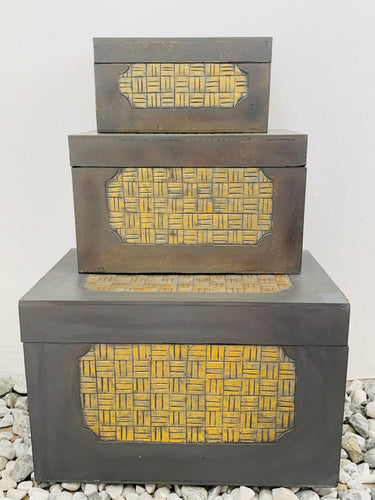 HANDMADE GREY AND GOLD SQUARE PATTERN TRUNKS SET OF 3 BIG