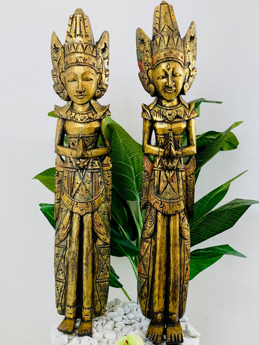 BALINESE RAM AND SITA COUPLE WOODEN CARVING FULL FIGURE - PAIR