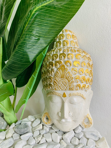 BUDDHA MASK WHITE AND GOLD