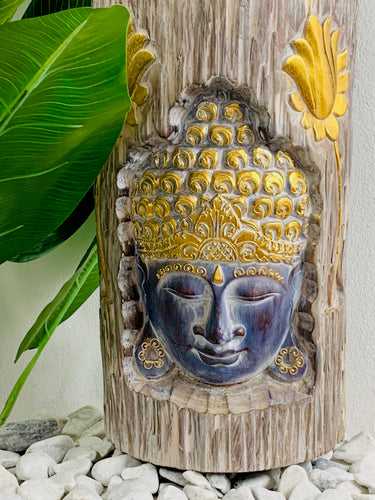 BUDDHA CARVED ON LOG WALL HANGING