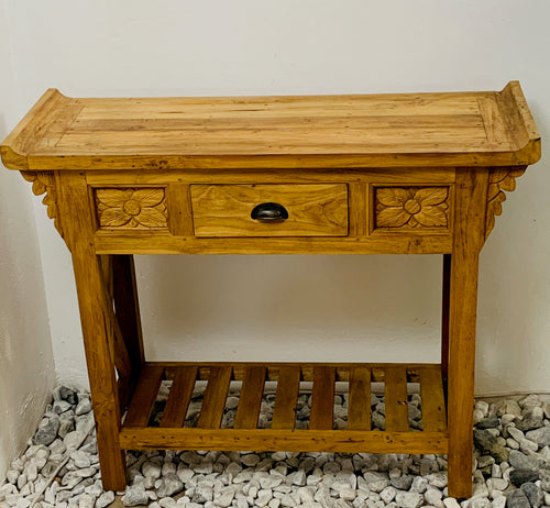 CONSOLE TABLE 1DRW NATURAL WOOD