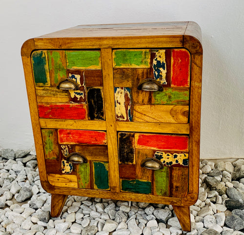 4 DRAWER PEDESTAL RECYCLE WOOD