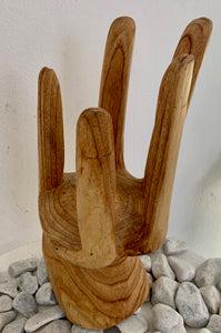 HANDCARVED WINE STAND 25CM