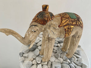 WOODEN CARVED THAI ELEPHANT STATUE