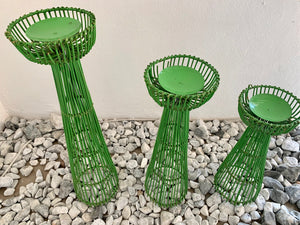 CANDLE HOLDER IN GREEN, SET OF 3 ( 40,50,60CM)