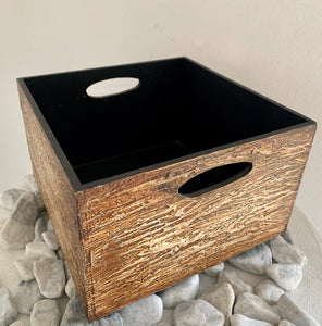 WOODEN CARVED BOX SQUARE WITH HANDLE