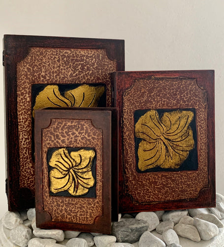 CARVED FLOWER BOOK BOXES SET OF 3