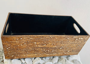 WOODEN CARVED BOX RECTANGLE WITH HANDLE