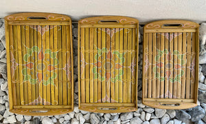 BAMBOO BATIK DESIGN SET OF 3 TRAYS