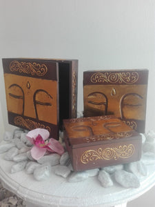 HANDMADE SET OF 3 BOXES- GOLD BUDDHA EYES 3 SIZES