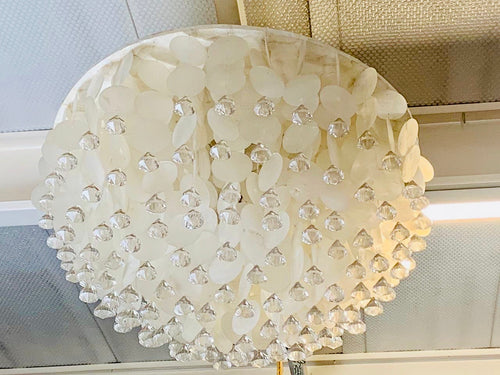 WHITE SHELL AND GLASS CHANDELIER (60CM)