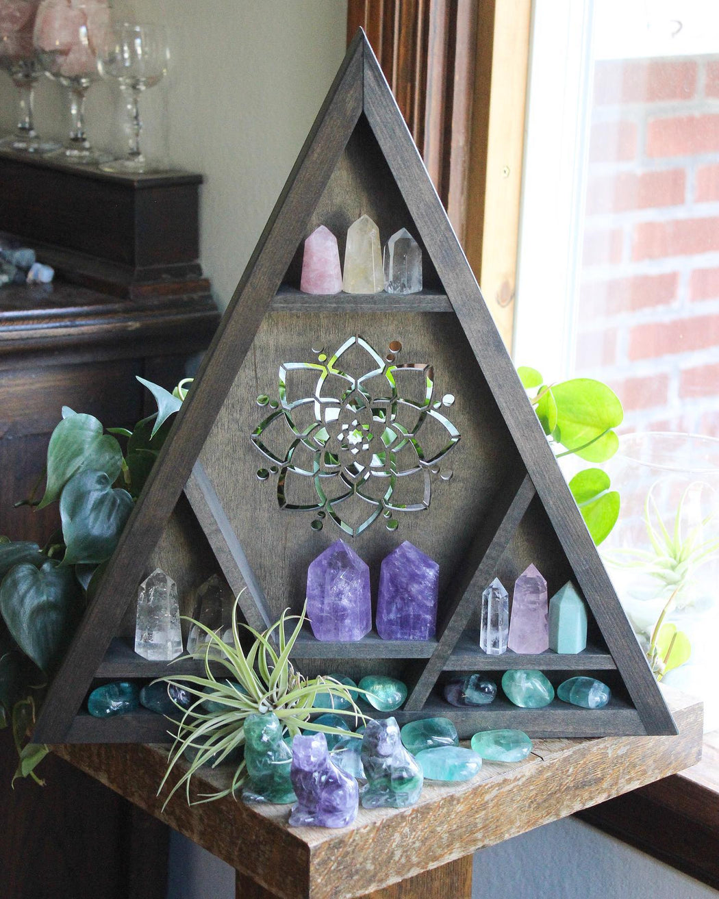 Extra Large Mandala Cutout Triangle Crystal Display Shelf