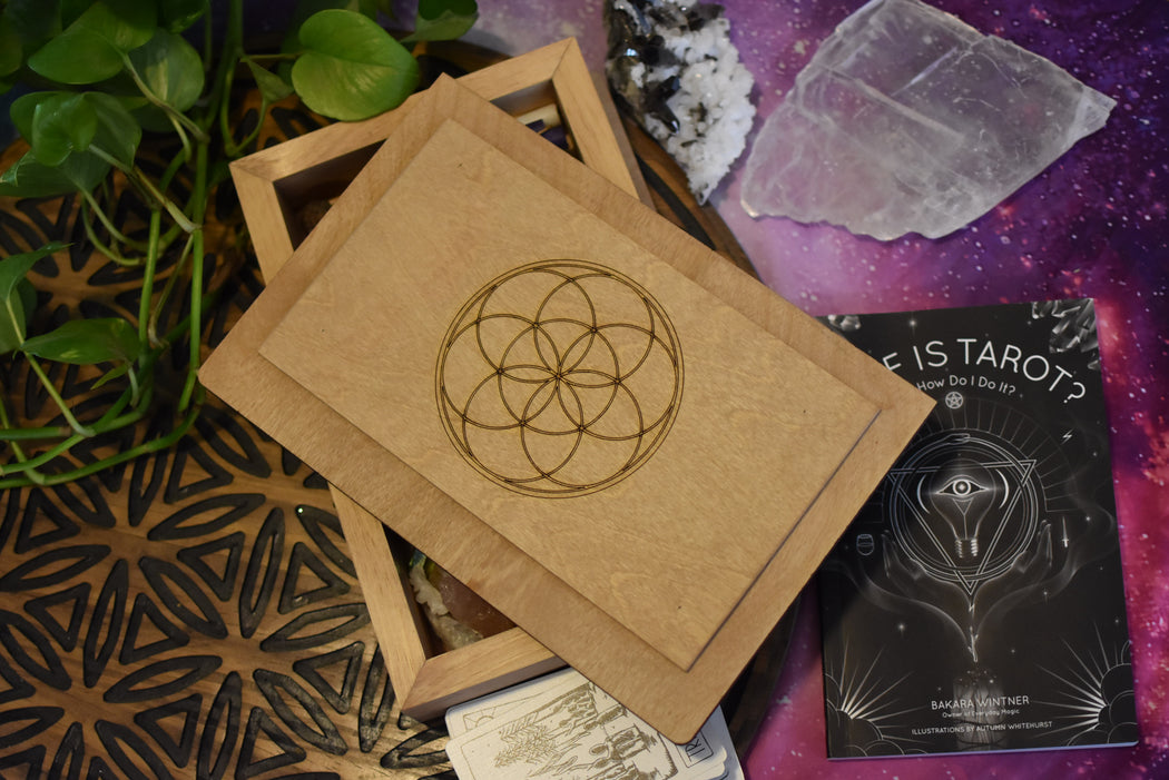 Recessed Lid, Moon Phases Engraved Tarot Box and Crystal Storage