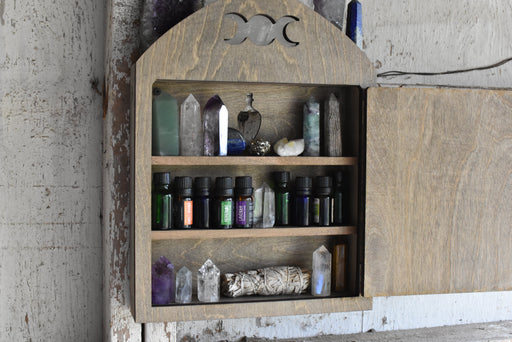 Light Brown Wall Hanging Apothecary Cabinet
