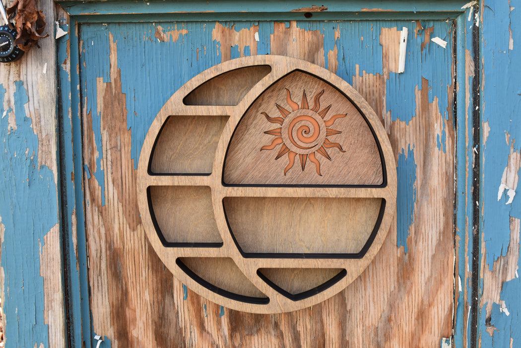 Almond Light Brown Sun In The Moon Circular Shelf and Wood Carving